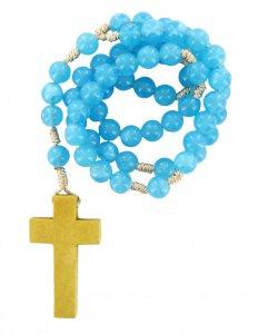 Copertina di 'Rosario azzurro con legatura di seta da mm 7,5'