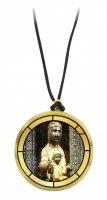 Ciondolo Madonna di Montserrat in legno ulivo con immagine serigrafata - 3,5 cm