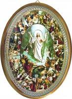 """Icona ovale laccata oro """"Via Crucis"""" - dimensioni 21,5x16 cm"""