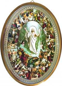 """Copertina di 'Icona ovale laccata oro """"Via Crucis"""" - altezza 21,5 cm'"""