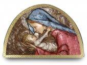 Tavola Madonna col bambino stampa su legno ad arco - 18 x 12 cm