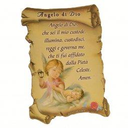 """Copertina di 'Quadretto a forma di pergamena con piedino da appoggio """"Angelo di Dio"""" - 10x7 cm'"""