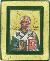 Icona Saint Patrick / San Patrizio, produzione greca su legno - 13,5 x 11 cm