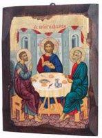 """Icona in legno dipinta a mano """"Discepoli di Emmaus""""-  dimensioni 21x16 cm"""