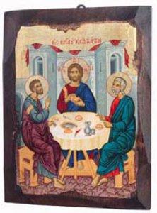 "Copertina di 'Icona in legno dipinta a mano ""Discepoli di Emmaus""-  dimensioni 21x16 cm'"