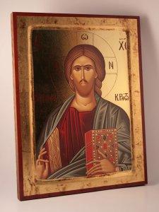 """Copertina di 'Icona stampata in legno """"Cristo Pantocratore""""'"""