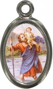 Copertina di 'Medaglia San Cristoforo in metallo nichelato e resina - 1,5 cm'