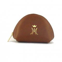Copertina di 'Portarosario a mezzaluna con zip e simbolo mariano - colore marrone'