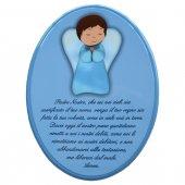 """Icona ovale azzurra """"Padre Nostro"""" per bambini - dimensioni 23x29 cm"""