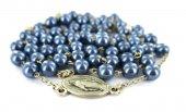 Immagine di 'Rosario imitazione perla vetro Ø 6 mm blu'
