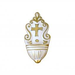 Copertina di 'Acquasantiera in ceramica cm 12 - Modello Girali verdi - oro'