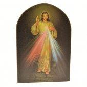 """Icona a cupola in legno """"Gesù Misericordioso"""" - dimensioni 15x10 cm"""