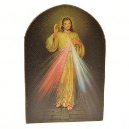 """Copertina di 'Icona a cupola in legno """"Gesù Misericordioso"""" - dimensioni 15x10 cm'"""