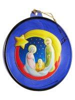 Sfera blu con Sacra Famiglia e cometa