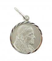 Medaglia San Giovanni Paolo II tonda in argento 925 - 1,6 cm