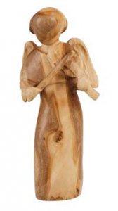 """Copertina di 'Statuetta in legno d'ulivo """"Angelo con violino"""" - altezza 7,5 cm'"""