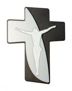 Copertina di 'Croce moderna nera e argento su due livelli - altezza 40 cm'