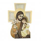 """Croce sagomata con lamina oro """"San Giuseppe e Bambinello"""" - altezza 14 cm"""