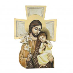 """Copertina di 'Croce sagomata con lamina oro """"San Giuseppe e Bambinello"""" - altezza 14 cm'"""