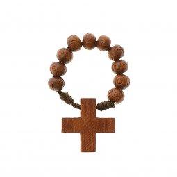 Copertina di 'Decina rosario in legno inciso - grani tondi 7 mm'