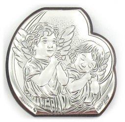 Copertina di 'Quadretto Due Angeli sagomato con lastra in argento 925 - Bassorilievo - 4,5 x 4,5'