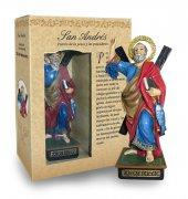 Statua di Sant'Andrea da 12 cm in confezione regalo con segnalibro in versione SPAGNOLO