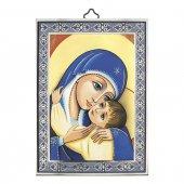 """Icona con cornice azzurra dettaglio """"Madonna col Bambino"""" - dimensioni 14x10 cm"""