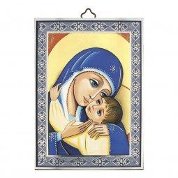 """Copertina di 'Icona con cornice azzurra dettaglio """"Madonna col Bambino"""" - dimensioni 14x10 cm'"""
