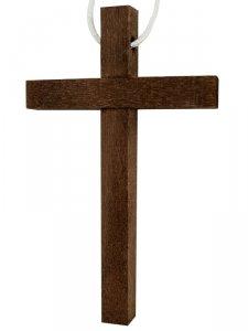 Copertina di 'Croce per Prima Comunione in legno scuro con laccio bianco - dimensioni 10x6 cm'
