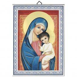 """Copertina di 'Icona in legno con cornice azzurra """"Madre del Salvatore"""" - dimensioni 14x10 cm'"""