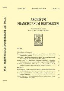 Archivum Franciscanum Historicum n. 2021/1-2