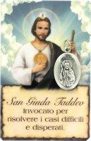 Card San Giuda Taddeo della guarigione in PVC con preghiera e medaglia - 5,5 x 8,5 cm - italiano
