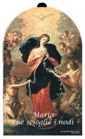 Quadretto Maria che scioglie i nodi in legno - 9 x 11,5 cm
