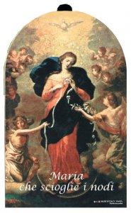 Copertina di 'Quadretto Maria che scioglie i nodi in legno - 9 x 11,5 cm'