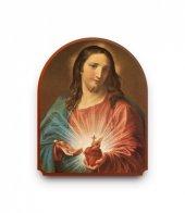 """Icona a cupola in legno """"Sacro Cuore di Gesù"""" - 40 x 30 cm"""