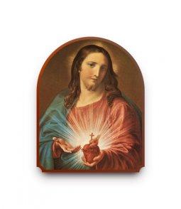 """Copertina di 'Icona a cupola in legno """"Sacro Cuore di Gesù"""" - altezza 40 cm'"""