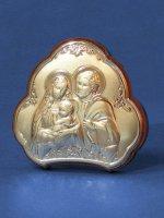 "Icona in lamina d'argento ""Sacra Famiglia"" - dimensioni 5,5x5 cm"
