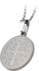 Copertina di 'Medaglia di San Benedetto rotonda in acciaio inox con catenina - diametro 2,5 cm'