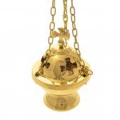 Immagine di 'Turibolo dorato con traforo a croce - altezza 15 cm'