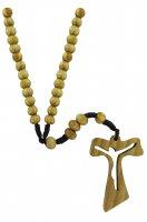 Rosario con croce tau traforata in legno d'ulivo