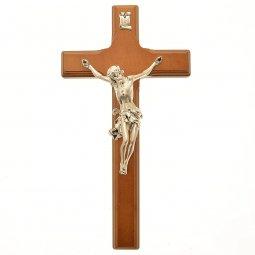 Copertina di 'Croce in legno e metallo argentato color ciliegio - altezza 27 cm'
