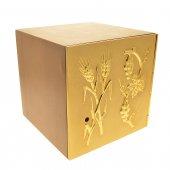 """Immagine di 'Tabernacolo in legno con porta dorata """"spighe e grappoli d'uva"""" - altezza 21,5 cm'"""