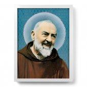 """Quadro """"Padre Pio"""" con lamina oro e cornice minimal - dimensioni 44x34 cm"""