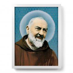 """Copertina di 'Quadro """"Padre Pio"""" con lamina oro e cornice minimal - dimensioni 44x34 cm'"""