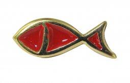 Copertina di 'Distintivo pesce dorato con smalto rosso - 2,5 cm'