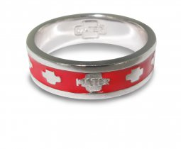Copertina di 'Fedina rosario in argento smaltata rossa con crocette mm 15'