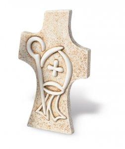 Copertina di 'Croce cresima da appoggio effetto pietra'