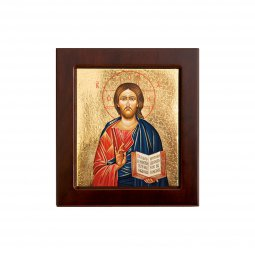 """Copertina di 'Icona bizantina in legno e sfondo oro """"Gesù Maestro"""" - dimensioni 14,5x16 cm'"""