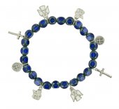 Braccialetto con ciondoli realizzato in vetro sfaccettato di colore blu