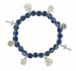 Copertina di 'Braccialetto con ciondoli realizzato in vetro sfaccettato di colore blu'